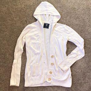 White/cream - AE Hooded Cardigan Sweater Medium